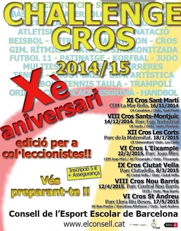 X Edició de la Challenge de Cros Escolar del CEEB.VI Cros Sant Andreu.