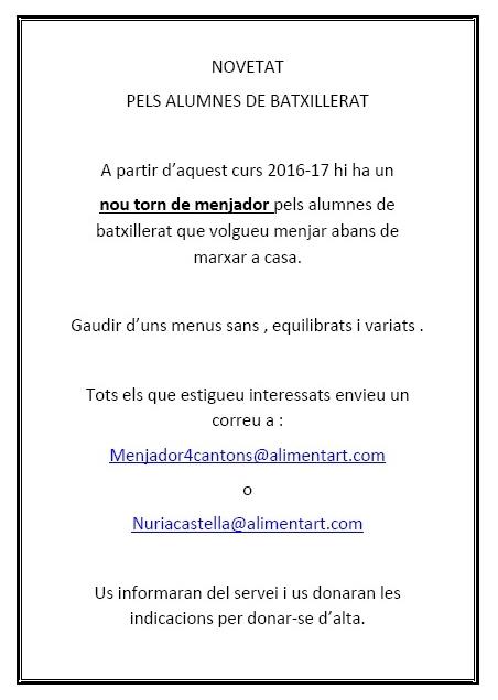 NOVETAT MENJADOR BATXILLERAT 2016-17